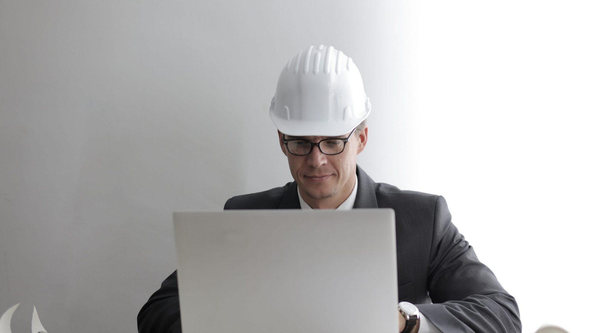 Engineer working on laptop